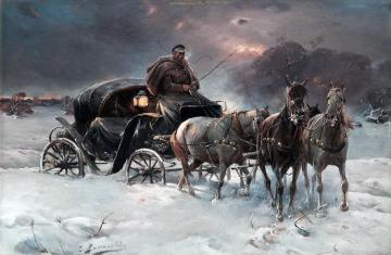 Winter landscape with a carria - Winter and carriage, winter landscape