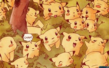 Pikachu and pals - The picture was taken in the natural environment of pikachu. Online!!!