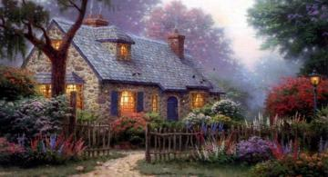 Cottage with garden - colorful puzzle jigsaw