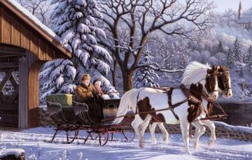 Horse-drawn carriage - winter landscape with sleighs
