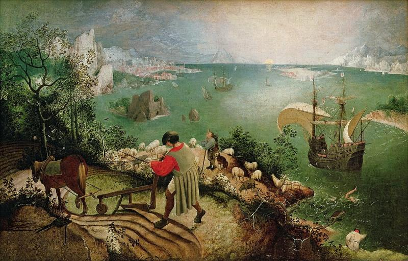 """Landscape with the fall of Ica - Painting: """"Landscape with the Fall of Icarus"""" - Pieter Brueglow (older), painted around 1557 (10×10)"""