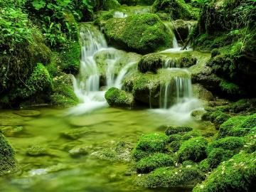 Mossy boulders - Waterfall and mossy boulders