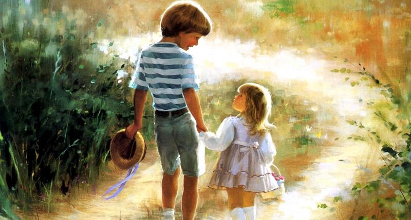 Brother and sister on a walk - colorful puzzle jigsaw (10×10)