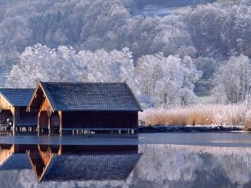 Huts on the water - Winter, forest, water, huts, peace
