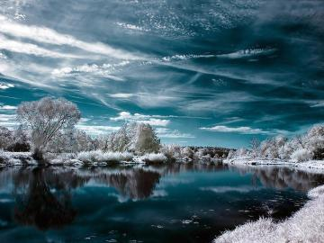 In winter, by the water - river, water, winter, trees