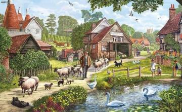 A village in painting - colorful jigsaw puzzle