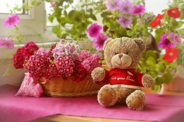 composite - plush bear and basket with flowers