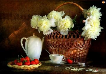 composite - basket of flowers, fruits and a jug