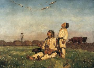 Chelmonski-Storks - The scene depicted in the picture is most likely in the initial phase of spring. Fresh, green and no