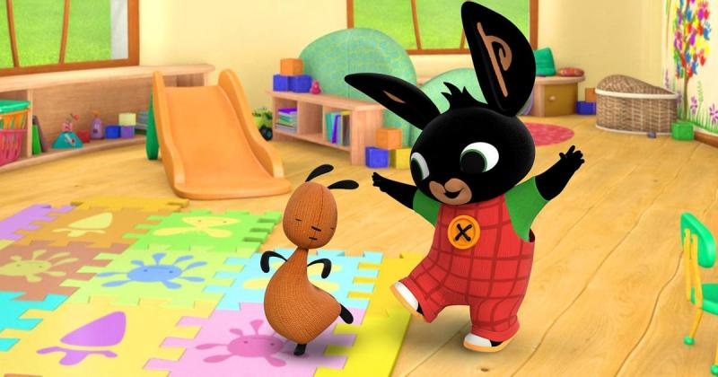Bing & Flop - note, Bing is dancing, Flop is dancing too!The best puzzle zone for kids (9×4)