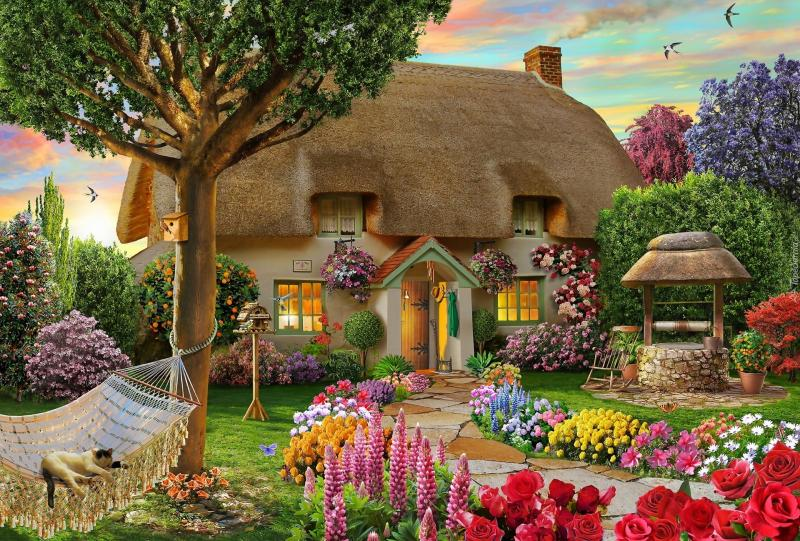 Thatched cottage - Cottage in a colorful garden (10×10)