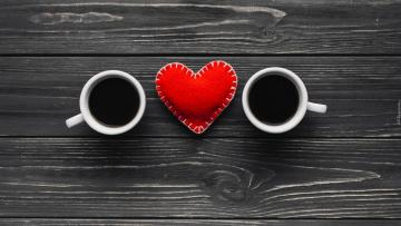Mugs and hearts - Mugs and hearts on the table. An idea for Valentine's Day.