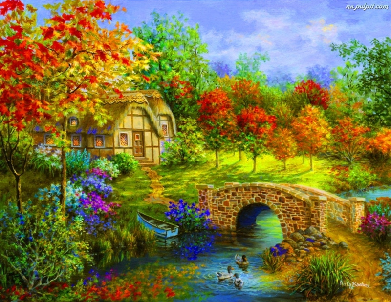 Cottage on the river - A charming house by the river (12×12)