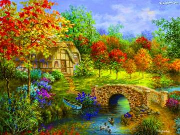 Cottage on the river. - A charming house by the river.