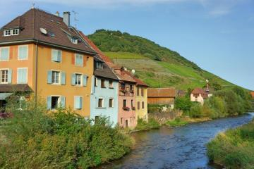 Houses by the river. - Houses by the river in Alsace.