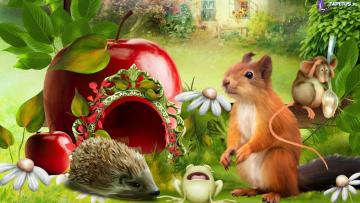 Squirrel. Jez Mouse field. - Squirrel. Hedgehog. Fieldmouse.