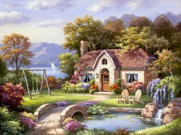 House by the lake. - Cottage with a garden by the lake.
