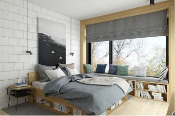 Idea for a bedroom - A warm, cozy bedroom. Everyone likes wood and warm colors. If someone loves reading books, it's