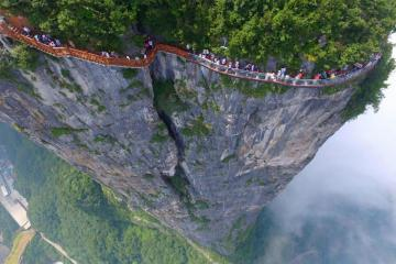 Footbridge over Tianmen. China - They will not see me here either.