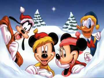Miki and Pluto - A festive picture of Disney characters
