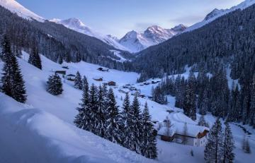 Grisons in the winter. - Canton of Grisons in Switzerland.