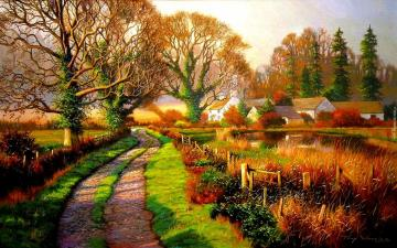 Colorful rural. - Rural landscape. A colorful picture. Beautiful autumn leaves. Colorful trees, colorful autumn leaves