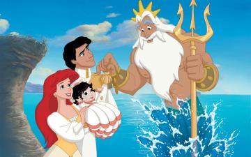 the sirenetta ariel two - the little mermaid ariel the prince eric melody and king triton