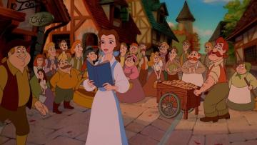 the beauty and the Beast - beautiful as she reads a book, the crowd chases her