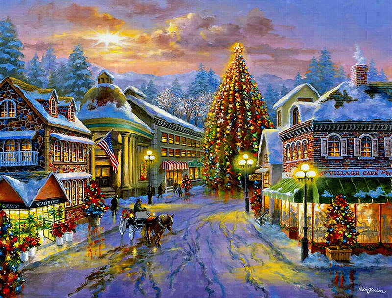 The city during the holidays - Festive landscape (14×14)