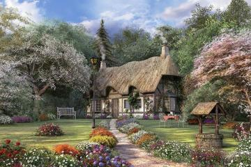 House with garden - A house with a garden, an English village, painting