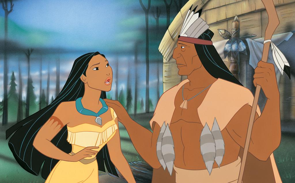 pocahontas - pocahontas together with his father powhathan (12×12)