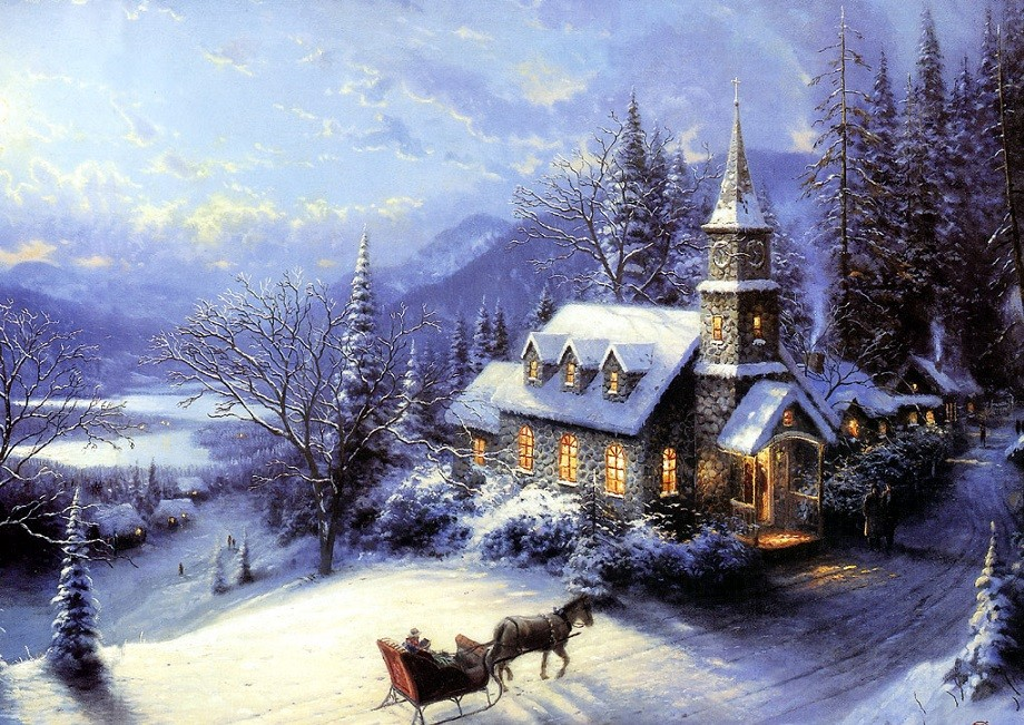 painting - Winter landscape with a church (9×9)