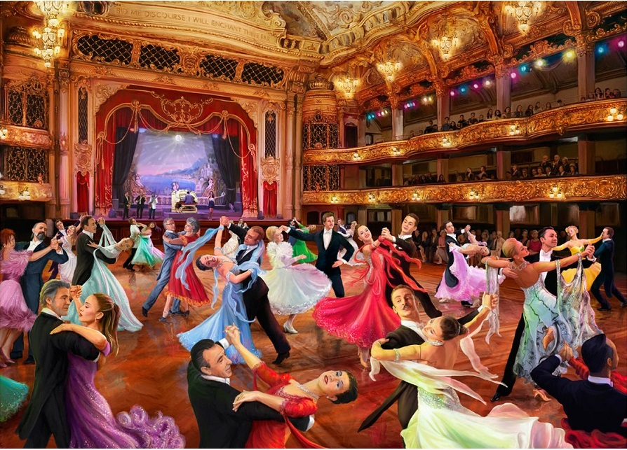 Painting - Painting. Bal at the opera (10×10)