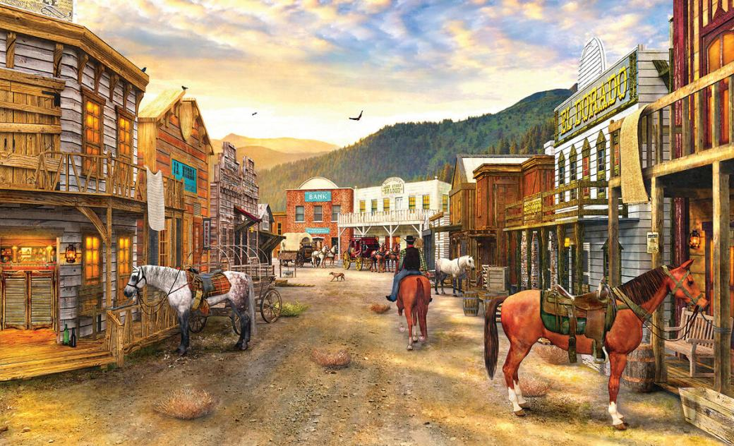In the wild west - A town in the wild west (12×11)