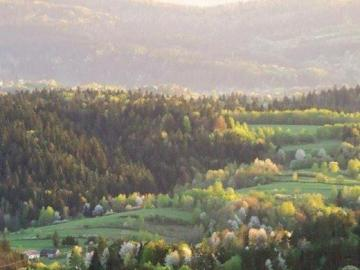 landscape - Przemyśl foothills in the spring robe of the Słonne Mountains