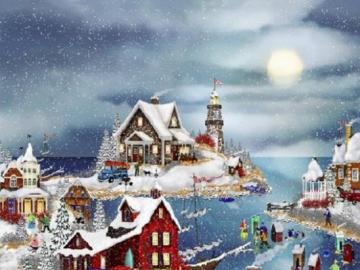 Winter like in a fairy tale - Winter town on the bay