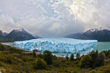 Glacier in Argentina - Stunning scenery with glacier in Argentina, mountain backdrop