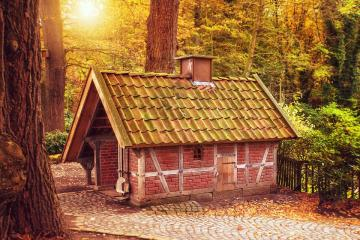 A small house in the forest. - A small house in the forest.