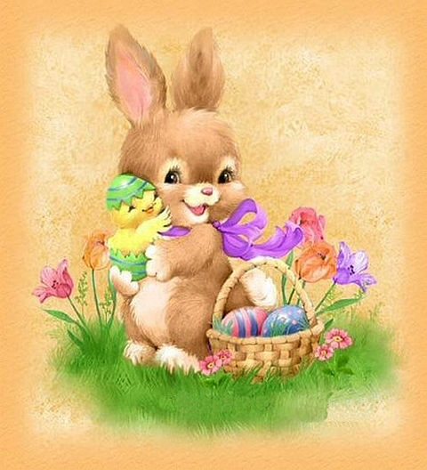 Bunny - Easter bunny with a basket, with Easter eggs (11×7)