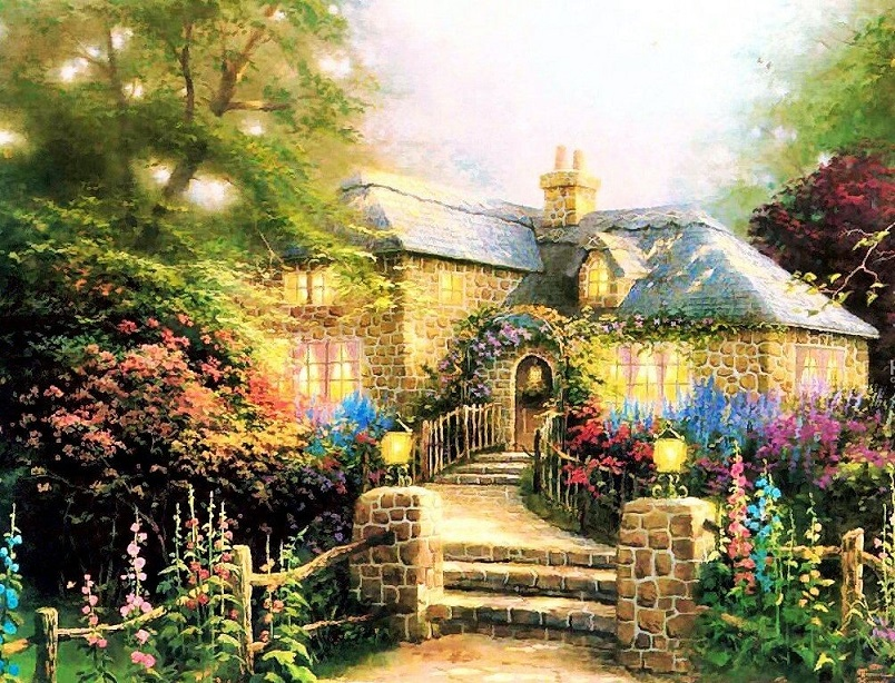 A painted house with a garden (11×10)