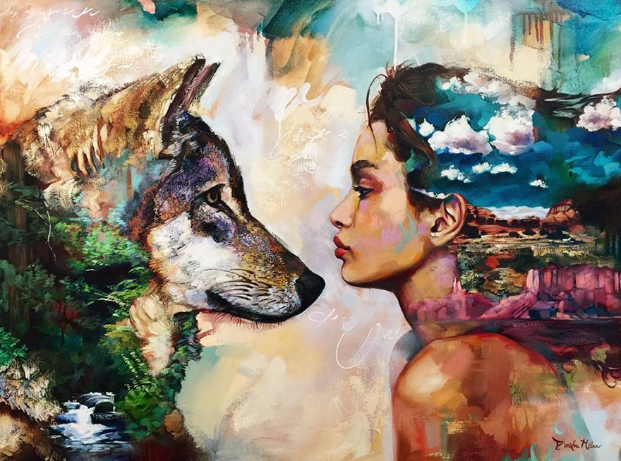 A woman with a dog - An amazing picture. An image showing a woman with a dog (12×12)