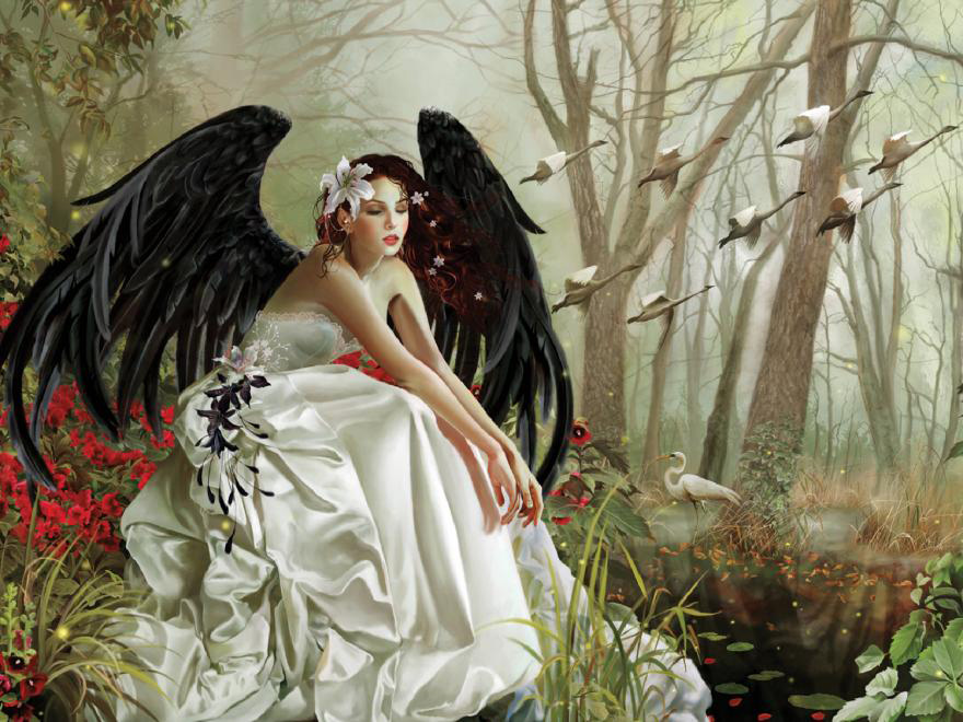 Black angel in a white dress - Painting. The black Angel (11×10)