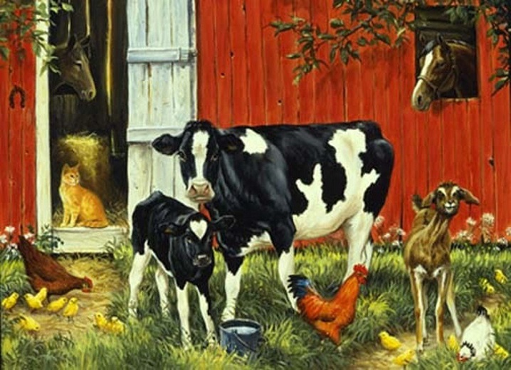 Cow with a calf - For children. Cow with a calf (10×9)