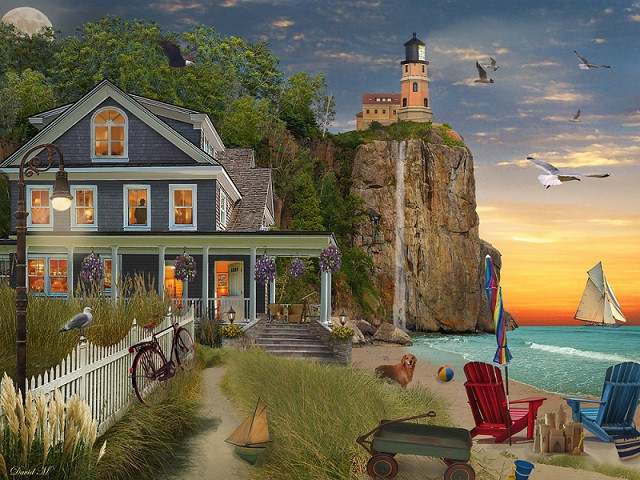 House by the ocean - Landscape. House by the ocean (10×10)