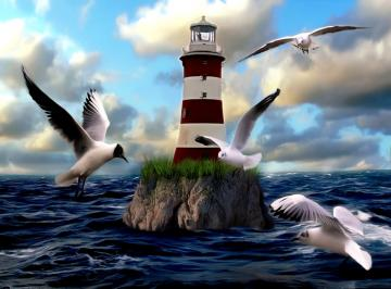 Gulls and lantern - Gulls flying by the lighthouse.
