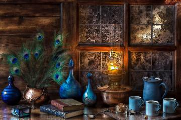 blue - Old-fashioned with an oil lamp.