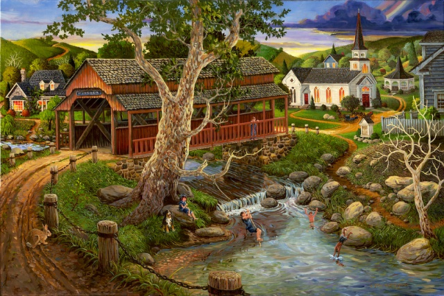 A small river flowing through the village (10×10)