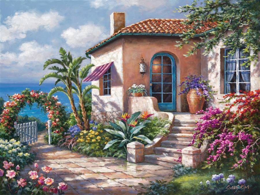 Painting. - Painting. Cottage by the sea.
