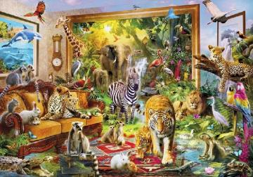 Animal diversity - Domesticated fauna so that on the sofa and in the picture lives