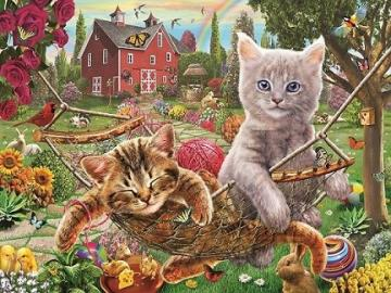 Kittens on a hammock. - Puzzle for children ..